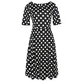 Vestito da Partito Casuale della Stampa Dell'Oscillazione Puffy delle Tasche Patchwork dell'Annata delle Donne di Modo (XL,Nero)