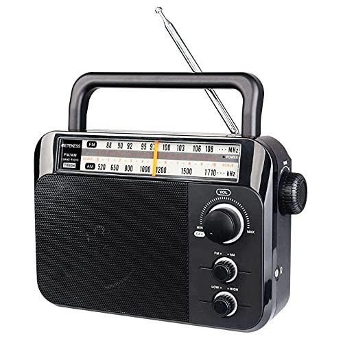 Retekess TR604 Radio Portable FM AM 2 Bandes Radio Transistor, Fonctionnement sur Secteur ou Piles, pour Les Personnes âgées (Noir)