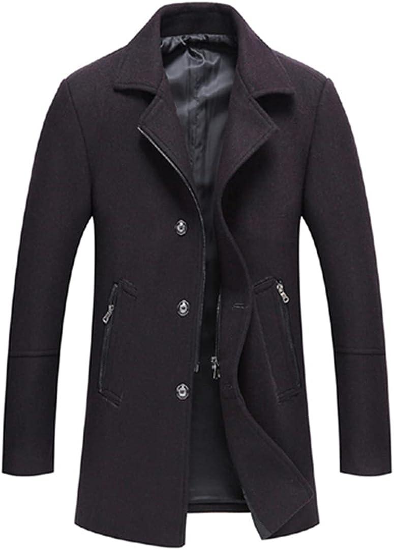 Wool Blend Overcoat Men Stand Collar Woolen Dress Breathable Jakets