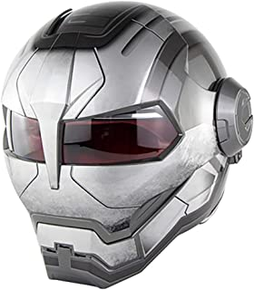 DYM258 Full Face Motocross Helmet D.O.T Certified Motorcycle Flip Open Mask Helmet, Iron Man Transformers(Color: Bright Gray),L