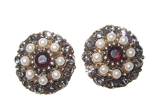 Stilvolle Ohr-Stecker groß roter Granat kleine Süßwasser-Perlen Kristallglas-Steine vergoldet Handarbeit Italien Unikat Retro Vintage Geschenk