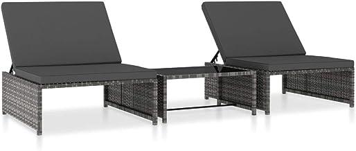 vidaXL 2X Sun Lounger with Table Outdoor Garden Furniture Patio Backyard Sunbed Set Lounge Chair Armchair Relaxing Seating...