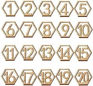 1-20 hexagonal creux carte de numéro de table, convient pour le mariage, restaurant, Club, café, bar, etc. (11*9.7*0.3 cm/...