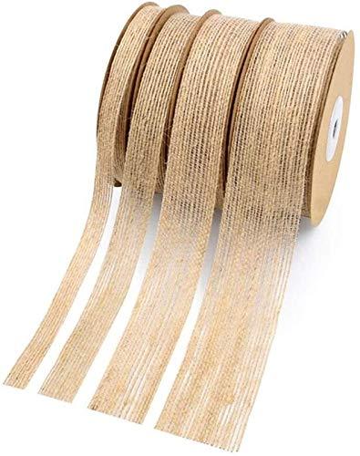 Cinta de lino yute natural Algodón Borde decorativo de DIY Tela de costura decoración de la boda del cordón (Tamaño: 38 mm) Plztou (Talla : 38mm)