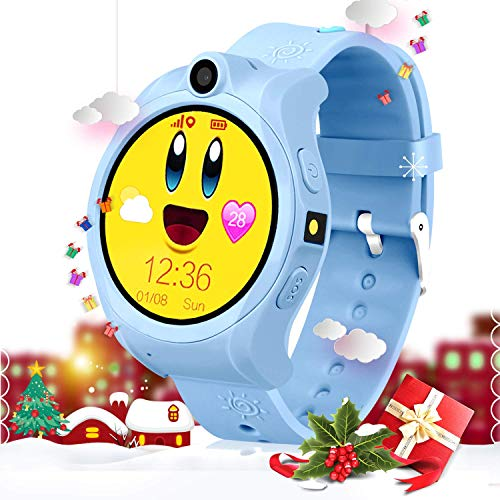 Kids Smart Phone Watch GPS Tracker Watches Fit 3-15 Years Old Boys Girls Geak Watch with Touchscreen Sim Card Slot Perfect Children Festival and Birthday Gifts (Blue)