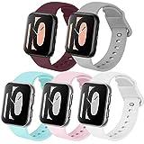 Zoye - Lote de 5 correas compatibles con Apple Watch de 38 mm, 42 mm, 40 mm, 44 mm, de silicona, compatibles con iWatch Series 6, 5, 4, 3, 2, 1, SE, Rose/Vin Rouge/Gris/Bleu Clair/Blanc, 38/40mm-S/M