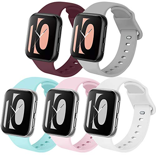 Zoye - Lote de 5 correas compatibles con Apple Watch de 38 mm, 42 mm, 40 mm, 44 mm, de silicona, compatibles con iWatch Series 6, 5, 4, 3, 2, 1, SE, Rose/Vin Rouge/Gris/Bleu Clair/Blanc, 38/40mm-M/L