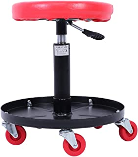 Heavy Duty Roller Seat, Mobile Rolling Gear Seat Pneumatic Car Seat W/Equipment Tray and Five...