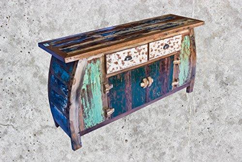 (K12)Vintage Teak gebogene Kommode, Kabinett, Sideboard, Schrank, Shabby, Antik Retro, Chic