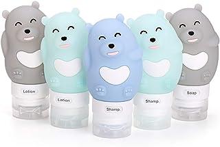 JasCherry Orso Bottiglie da viaggio in silicone - Senza BPA, Approvata dalle TSA - Per shampoo personale, balsamo, gel doc...