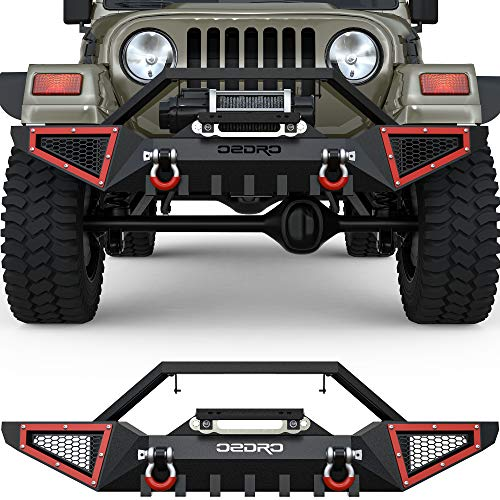 oEdRo Full Width Front Bumper Compatible with 1987-2006 Jeep Wrangler TJ & YJ, Textured Black Rock Crawler Off Road with 2x D-Rings & Winch Plate