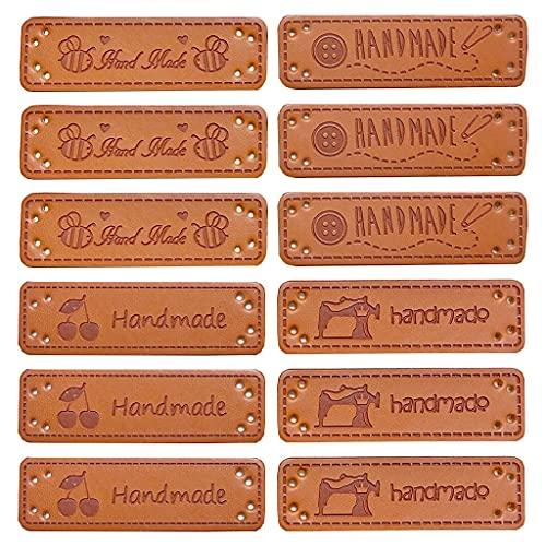 Daimay 60 piezas de cuero PU de la etiqueta de la ropa hecha a mano en relieve de adorno de punto DIY accesorios para los pantalones vaqueros bolsos zapatos sombrero - 1.5x5cm estilo 1