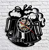 Zihan9 Reloj de Pared de Vinilo de Vinilo Vino Cool Creative Record Vintage Quartz Wall Clock 12 Pulgadas