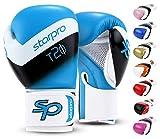 Starpro Guantes de boxeo (8 oz 10 oz 12 oz 14 oz 16 oz) Cuero sintético - guantes de boxeo de entrenamiento muay thai para Unisex-adulto [Azul / Blanco] [12 oz]