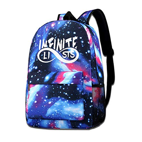 AOOEDM School Bag,Infinite-Lists School Backpack Galaxy Starry Sky Book Bag Kids Boys Girls Daypack