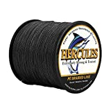 HERCULES Super Strong 100M 109 Yards Braided Fishing Line 6 LB Test for Saltwater Freshwater PE Braid Fish Lines 4 Strands - Black, 6LB (2.7KG), 0.08MM