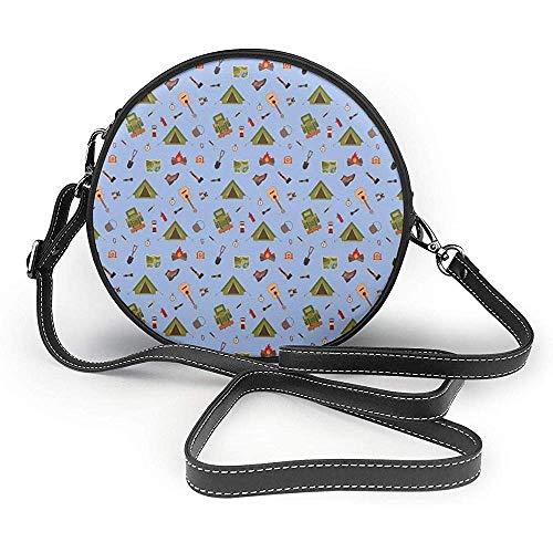 TURFED PU Runde Umhängetasche Boy Scout Camping Icons wie Zelt Gitarre Lagerfeuer und Stiefel Illustration für Kinder Handtasche