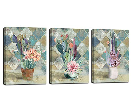 Canvas Wall Art Cactus Painting Bathroom Decor Cacti Prints Watercolor Tropical Green Plants and Pink Flowers Vintage Retro Pictures, Succulent Poster Artwork 12'x16'x3 Panels for Bedroom Spa Salon Kitchen Home Office Decor