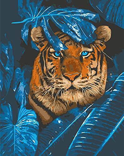 Beaxqb Dipingere con i Numeri Kit Animale Tigre Blu per Adulti e Bambini Regalo per Decorazioni per la casa 40x50cmNessuna Cornice