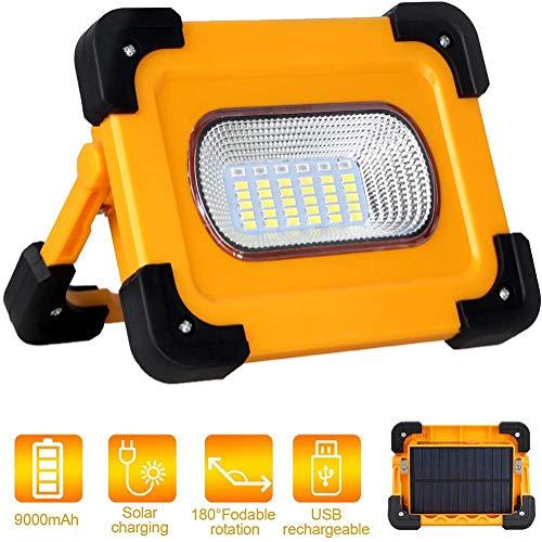 HONGLONG 60W tragbare Solar-Licht Arbeiten, USB aufladbare LED Camping Licht, Vier Modi, 9000mAh Mobile Stromversorgung für die Fahrzeuginstandhaltung, Notfall wasserdichte Wander Dunkelkammerlicht.