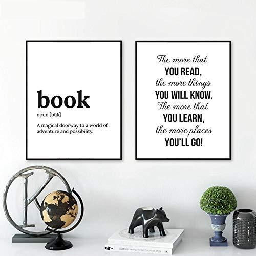 NLZNKZJ Minimalistischer Buchtext Lernen Sie mehr über das Wissen Leinwand-Malerei-Poster und Drucke, Schlafzimmer-Wandkunst-Bilder Wohnzimmer-Dekor 50x70cmx2 ohne Rahmen