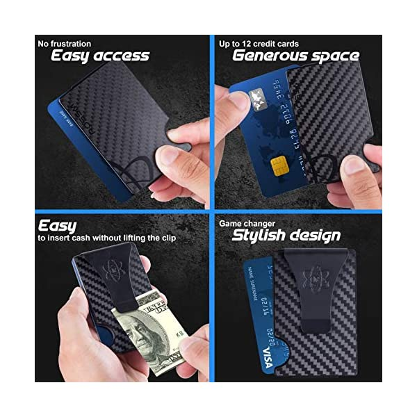 Carbon Fiber Wallet for Men – RFID Minimalist Credit Card Holder with Metal Money Clip – Slim Rigid Front Pocket Mens Wallets