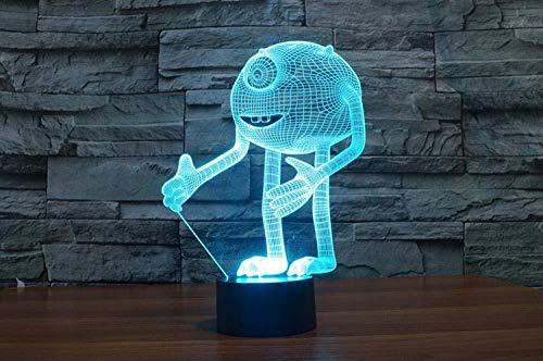 3D Illusion Night Light bluetooth Smart Control 7 & 16M Color Mobile App Led Vision Slideshow One Eye Monster Optical Acrylic Monsters Inc Décoration de la maison Enfants -Sans