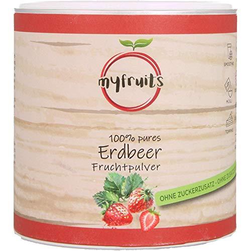 myfruits® Erdbeerpulver, 100 % Erdbeeren ohne Zusätze, gefriergetrocknet. Fruchtpulver für Smoothie, Shakes & Joghurt. Hergestellt in Deutschland (150g)