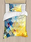 Ambesonne Yellow and Blue Duvet Cover Set, Ombre Pattern in Factal Squares Broken Mosaic Form Modern Artistic, Decorative 2 Piece Bedding Set with 1 Pillow Sham, Twin Size, Orange Yellow