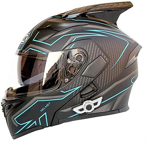 Casco Bluetooth para motocicleta con cuernos con doble lente antivaho y antirreflejos casco completo K5 Bluetooth Upgrade micrófono integrado 3D DOT/ECE certificación de calidad 5 XXL