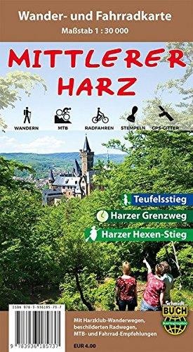 Mittlerer Harz: Wander- und Fahrradkarte