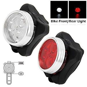 51L4p+AXAGL. SS300 2Pz Luci Bicicletta LED Ricaricabili USB con 4 Modalità,Anti-Pioggia e Anti-Caduta Super Luminoso Luce Bici Anteriore e…