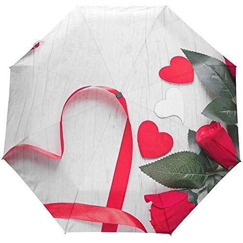 Wheatleya Wind-und regensicherer Regenschirm Herzen in der Nähe von roten Rosen Tragbarer Faltbarer Sonnenregenschirm