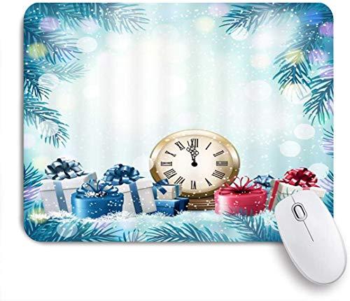 Dekoratives Gaming-Mauspad,Count Zero Clock Weihnachtsfest Geschenke Countdown Tanne verlässt Silvester,Bürocomputer-Mausmatte mit rutschfester Gummibasis
