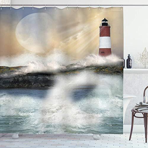 Cortina de ducha Lighthouse,estilo de pintura al óleo,obra de arte de Stormy Sea Splashing Waves Moon and Lighthouse,juego de decoración de baño de tela,azul marfil con 12 ganchos de, de 180x210cm