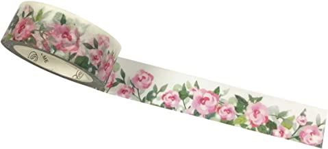 Wrapables A71303c Flowers and Greens Masking Tape, 15mm x 7m Precious Pink Washi