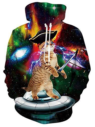 Loveternal Titanic Cat Design 3D Gedruckt Hoodie Neuheit Pullover für Mens Womens Sweatshirt Pullover mit großen Tasche L