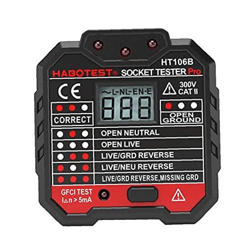 Probador del zócalo eléctrico 48-250V, Roeam automática Neutro Live Earth Wire Prueba Circuito detector de polaridad del enchufe de pared Interruptor Buscador Prueba de fuga eléctrica con