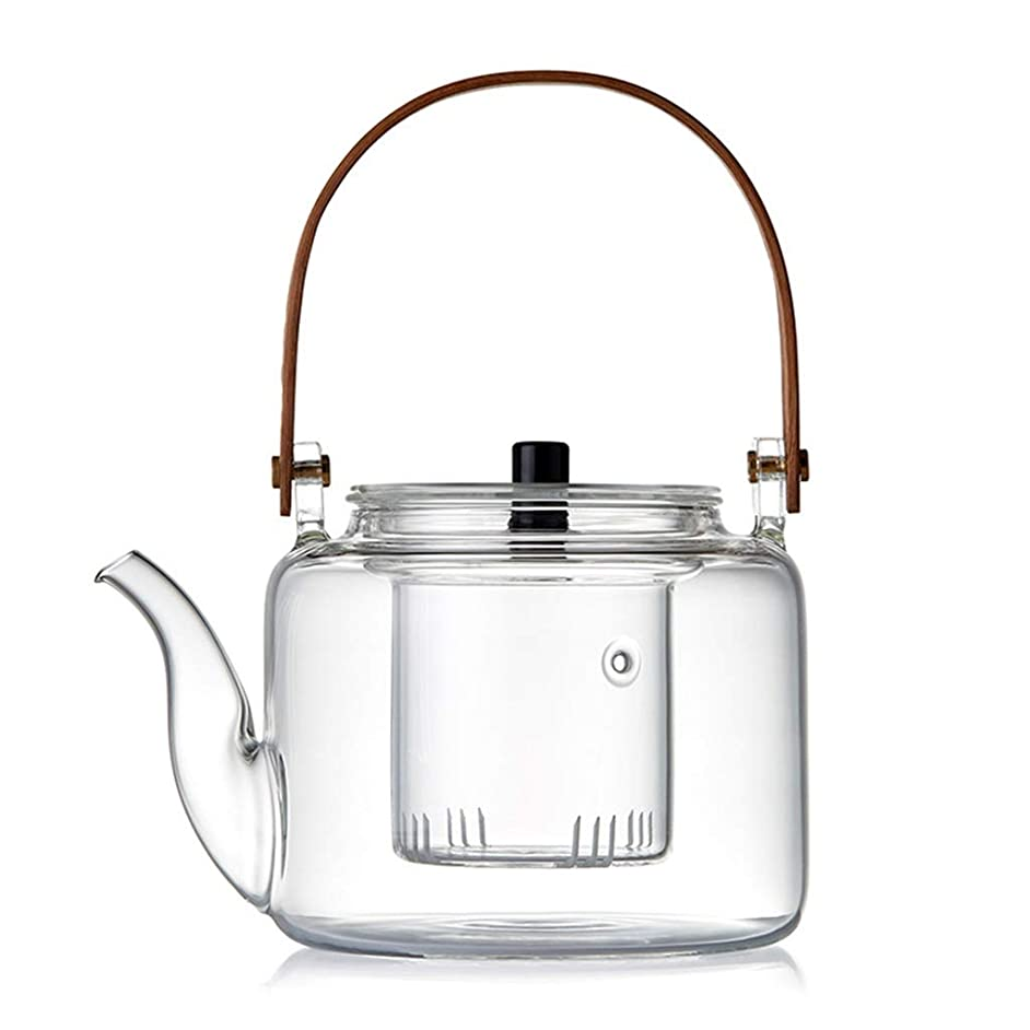 Teapots Coffee Servers Teapot Glass Teapot Ice Coffee Pot Household Filtration High Temperature Glass Teapot Detachable Glass Teapot Cold Drink Pot (Color : Style1, Size : 1100ml)