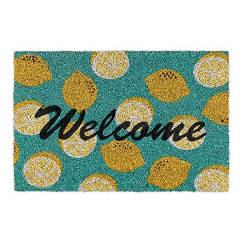 Relaxdays Fußmatte Kokos, Welcome Schriftzug & Zitronen-Motiv, Türvorleger innen & außen, Kokosmatte 40x60 cm, grün/gelb, 1 stück, 10035510