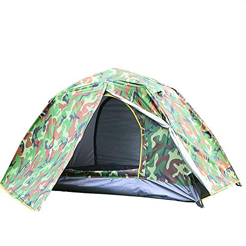 XBR Single Tent Pop Up Festival Dome 1 Man Camping Tent - Porch Area, Groundsheet, Water Resistant Backpacking Tent, Lightweight, Easy Pitch Festival Tent - Camouflage Green