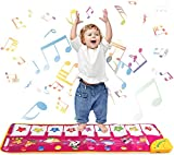 Kids Piano Mat 39'' x 14'' Foot Piano Mat Keyboard Play Mat with 8 Animal Sounds Electronic Music Dance Mat Early Education Toys for Toddlers Girls Boys