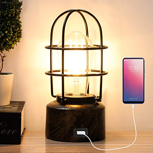 Yueximei USB Vintage Desk Lamp Small Industrial Light Touch Control Dimmable Table Lamp Bedside,Steampunk Light Edison Lamp,E26 Edison Base Decoration for Bedroom Living Room(No Bulb Included)