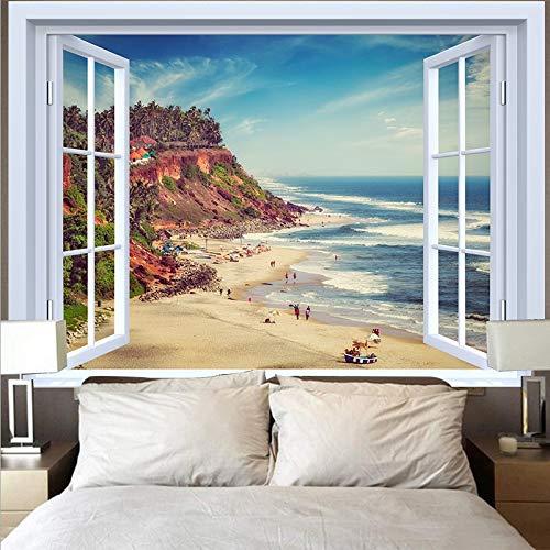 Tapiz de montaña tapiz paisaje lago puesta de sol gran ola tapiz paño de pared decoración del hogar fondo tapiz de tela A16 73x95cm