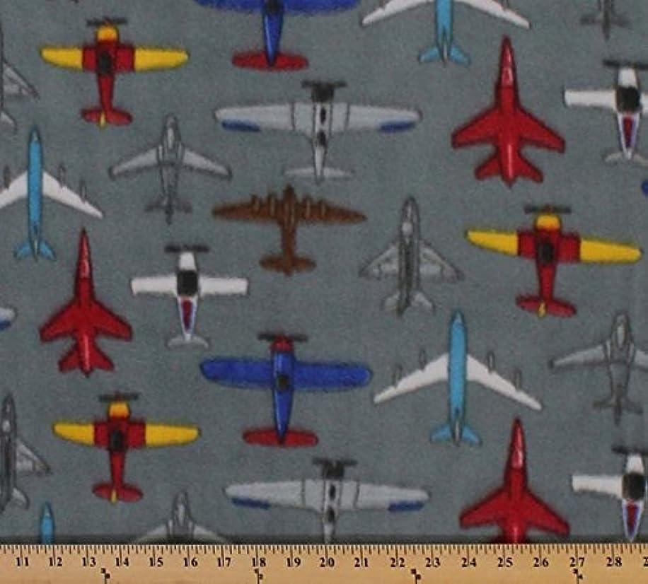 Printed Fleece Fabric - 2 Yards (Gray Airplanes)