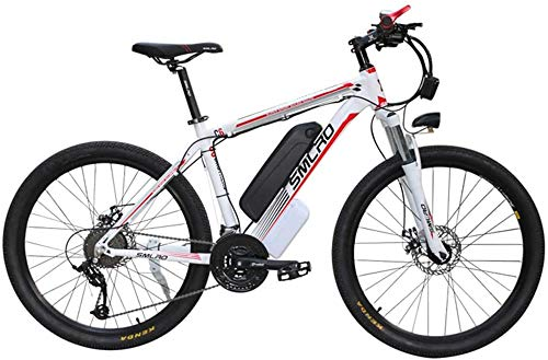 Electric Bikes, 26'' Electric Mountain Bike Brushless Gear Motor Large Capacity (48V 350W 10Ah) 35 Miles Range and Dual Disc Brakes Alloy Electric Bicycle,E-Bike (Color : White Red)