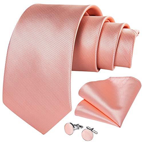 GPZFLGYN Cravatte blu rosa solido da uomo per cravatta da sposo gemelli fazzoletto regalo per cravatte da uomo