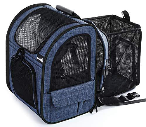 Pecute Transportin Gato Mochilas para Gatos y Perro Bolsa para Mascotas Expandible y Plegable, Carga Máxima 15 kg, para Viajar en Tren/automóvil/Restaurante/avión, Gris (Azul, Ventana de Malla)