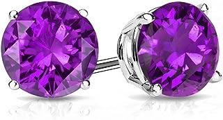 Certified 14k Gold Round Cut Gemstone Stud Earrings (9mm)
