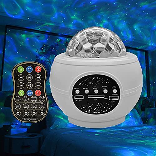 KZXC Star Projector Star Night Light Proyector para Dormitorio con Altavoz Bluetooth Control Remoto Ocean Water Pattern Night Light Hogar,White